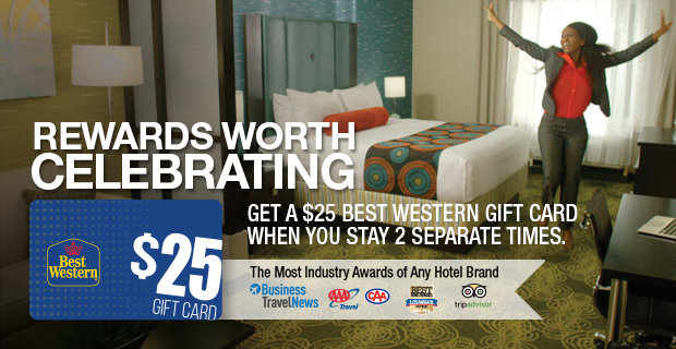 1291401 - Best Western Fall 2015 promo: Get a $25 gift card after two stays