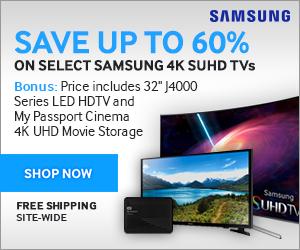 Save up to 60% on select Samsung 4K SUHD TVs