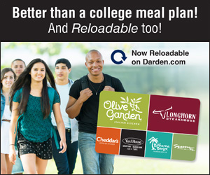 Reloadable gift cards for Darden Restaurants (Olive Garden, Longhorn Steaks, Cheddar's, etc.)