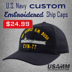 4e47c2945fcd2 Custom Embroidered US Navy Ship Caps at USA Military Medals