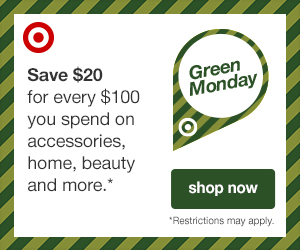 Green Monday $20 off every $100 @ Target with free shipping + exclusions