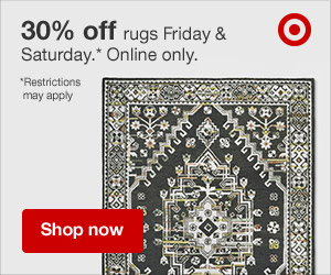30% off Rugs Fri & Sat ONLY.