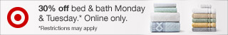 30% off bed & bath online only