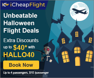 iCheapFlight.com: Up to $40 off Unbeatable Halloween Flight Deals
