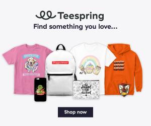 Teespring print on demand product ad.