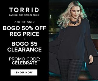 Torrid Online Holiday Deals: BOGO 50% OFF/BOGO $5 Clearance/Promo Code: CELEBRATE