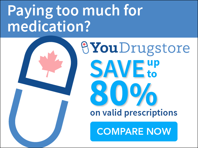 Do you use costly medications? You could score 80% off your prescription medications from YouDrugstore! YouDrugstore is providing Americans and people around the world with access to medication at the same prices most Canadians pay. Check out the savings!